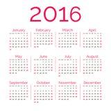 Kalender des Rotes 2016 Lizenzfreies Stockfoto
