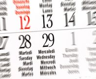 Kalender des Schaltjahres, Februar Lizenzfreie Stockfotos
