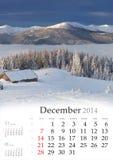 2014 Kalender. Desember. Stock Afbeelding