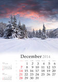 Kalender 2014. Desember. Lizenzfreie Stockfotografie