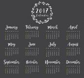 2017 Kalender-Design mit Kranz Stockfoto