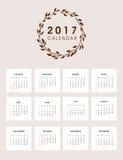 2017 Kalender-Design mit Kranz Stockfotografie