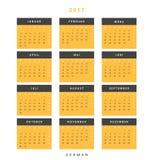 Kalender 2017 in deutschem einfachem modernem Lizenzfreie Stockfotografie
