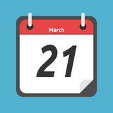 Kalender die 21 tonen Maart, Stock Illustratie