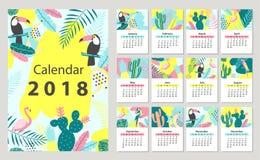 Kalender 2018 die van zondag beginnen Stock Foto's
