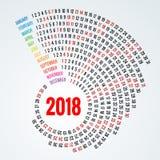 2018 Kalender Druck-Schablonen-Spiralenkalender Satz von 12 Monaten runden Planer-für 2018-jähriges Lizenzfreies Stockfoto