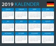 Kalender 2019 - Duitse Versie vector illustratie