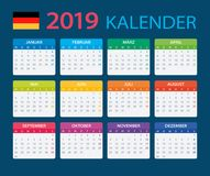 Kalender 2019 - Duitse Versie royalty-vrije illustratie