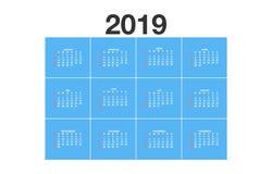 Kalender 2019 - Duitse Versie - vectorillustratie vector illustratie