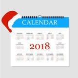 Kalender 2018 Eenvoudig Kalendermalplaatje voor jaar 2018 Afscheuringskalender voor 2018 Witte achtergrond Vector illustratie Stock Fotografie