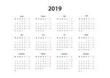 Kalender 2019, 2020, 2021 Kalender einfache Vorlage, Deutsch ilustracja wektor