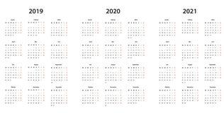 Kalender 2019, 2020, 2021 Kalender einfache Vorlage, deutsch royalty-vrije illustratie