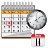 Kalender en klok. Stock Afbeeldingen