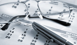 Kalender en pen Stock Foto