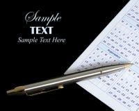 Kalender en pen met exemplaarruimte Royalty-vrije Stock Foto