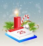 Kalender en rode kaars Stock Foto's