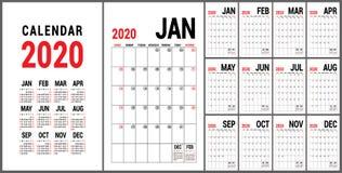 Kalender 2020 Engels kalendermalplaatje Vectornet Bureau bedrijfs planning Creatief ontwerp stock illustratie