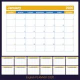 2020 Kalender Engelse ontwerper Ð ¡ olor vectormalplaatje Het begin van de week op Zondag Bedrijfs planning Nieuwe jaarkalender S royalty-vrije illustratie