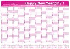 Kalender 2017 - Engelse voor het drukken geschikte Organisator & x28; planner& x29; Royalty-vrije Stock Afbeelding