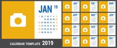 Kalender 2019 Engelsk kalendermall Vektorraster Kontorsbu vektor illustrationer