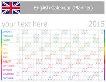 Kalender 2015 engelsk Planner-2 med horisontalmånader vektor illustrationer