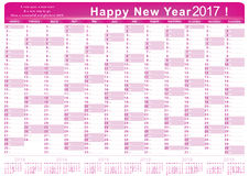 Kalender 2017 - englischer bedruckbarer Organisator u. x28; planner& x29; Lizenzfreies Stockbild