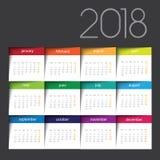 kalender 2018 Färgstolpe det stock illustrationer