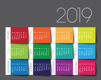 kalender 2019 Färgstolpe det stock illustrationer