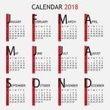 Kalender för 2018 år Vektor Illustrationer