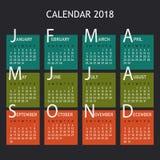 Kalender för 2018 år Royaltyfri Illustrationer