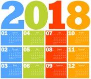 Kalender för 2018 år Arkivfoto
