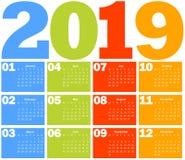 Kalender för 2019 år vektor illustrationer