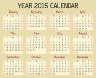 Kalender för år 2015 stock illustrationer