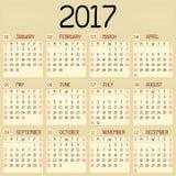 Kalender för år 2017 stock illustrationer