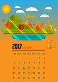 Kalender för 2017 år Arkivfoton