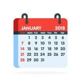 Kalender för 2018 år Full månad av den Januari symbolen också vektor för coreldrawillustration stock illustrationer