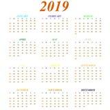Kalender för 2019 år månader av färgsymboler stock illustrationer