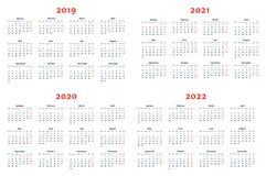 Kalender för 2019-2022 år på genomskinlig bakgrund stock illustrationer
