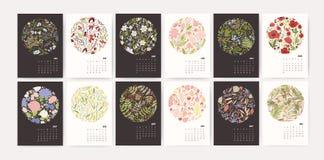 Kalender för 2019 år Söka mallar med runda säsongsbetonade blom- dekorativa beståndsdelar och månader på svartvitt stock illustrationer