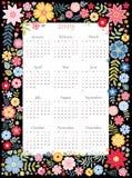 Kalender för 2019 år Vektormall i blom- ram med gulliga färgrika blommor på svart bakgrund stock illustrationer