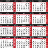 Kalender för året av 2017 vektor illustrationer