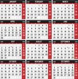 Kalender för året av 2018 stock illustrationer