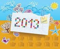 Kalender för 2013. Collage av klistermärkear stock illustrationer