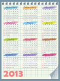 Kalender för 2013. Veckastarter på söndag royaltyfri illustrationer