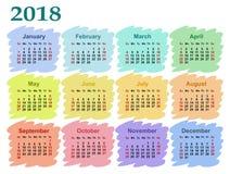 Kalender för 2018 Arkivfoto