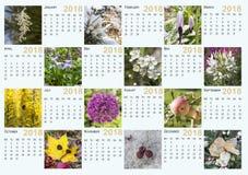 Kalender för 2018 arkivfoton