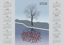 Kalender för 2018 vektor illustrationer