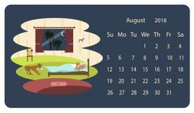 Kalender 2018 för Augusti royaltyfri illustrationer