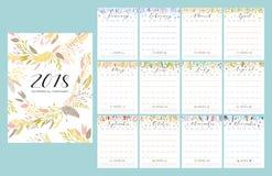kalender för 2018 blomma stock illustrationer