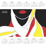 Kalender för 2020 stock illustrationer